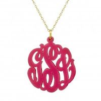 Pink Acrylic Monogrammed Necklace. Love it! Click link for more info.
