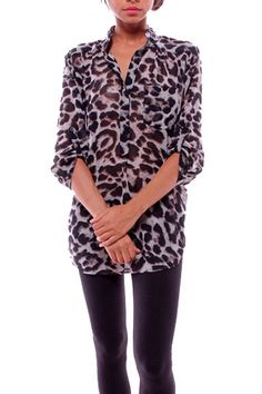 Sz: Small & Medium ONLY $44  LOVE this brown & black leopard print top with 3/4 sleeves! It's sheer and perfect for layering!!