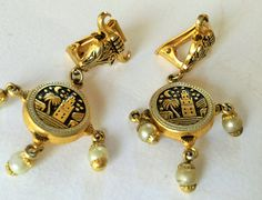 Vintage damascene gold and pearls earrings, damascene jewelry, damascene - Orecchini vintage, gioielleria vintage, orientale di Quieora su Etsy