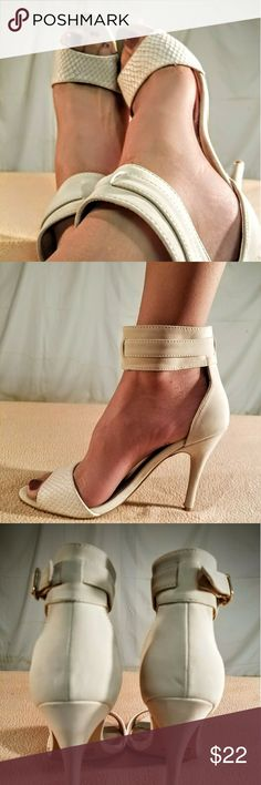 New Qupid Cream/Shell Design Ankle Strap Heels These shoes are Brand New/Never Wirn and are in PERFECT CONDITION. The heel height of this shoe is 4 inches tall. Qupid Shoes Heels