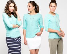 3 Ways to Wear It: Slub Knit Pullover in Aqua (more colours available at www.rickis.com) #rickis #3ways #summer2014