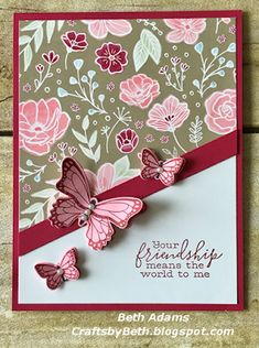Crafts by Beth: Your friendship. Crafts by Beth: Your friendship…. Homemade Greeting Cards, Greeting Cards Handmade, Homemade Cards, Simple Handmade Cards, Butterfly Cards Handmade, Butterfly Crafts, Beautiful Handmade Cards, Scrapbooking Simple, Karten Diy