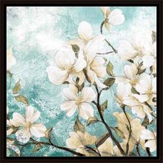 Growing Flower Bushel Texture Painting Blue, Framed Canvas Art by Pied Piper Creative, Brown