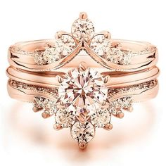 Gorgeous rose gold vintage/antique morganite engagement ring with diamond ring enhancer!
