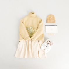 Ribbon Back Point Corduroy Dress, Ivory, Boucle Detail Pullover Jumper, Yellow, Lambs Wool Socks, Ivory