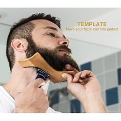 NEOMEN Wooden Beard Grooming Kit, Beard Shaping Template Designed for Various Beard Styles, With Boar Bristle Beard Brush & Barber Pencil, Helps to Achieve Perfect Goatee, Mustache & Neck Line Beard Grooming Kits, Men's Grooming, Best Friends Brother, Beard Brush, Peel Off Mask, Moustache, Beard Care, Blackhead Remover, Hair And Beard Styles
