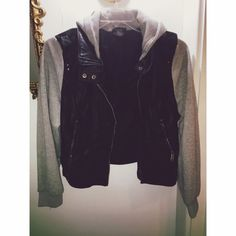 Leather hooded jacket with grey sleeves Worn a couple times. Very comfortable! Forever 21 Jackets & Coats