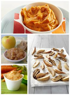 Healthy Baby Food Recipes for Fall - sweet potatoes & coconut milk, roasted pears and bananas