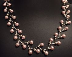 Pink Pearl ZigZag Necklace & Earring Set