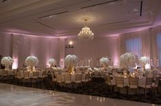 White Orchid Centerpieces, Gold Accents, Blush Pink Uplighting, Trump National Doral Miami Wedding  |  Design by Birch Events
