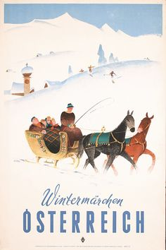 Original 1950s Austrian Winter Ski Poster KOSEL Art