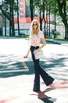 #calçaflare #jeansflare #polkadots