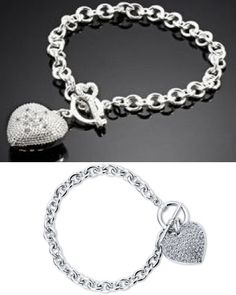 Check out this amazing deal: $12 for a .925 Silver Tiffany Inspried Crystal Heart Charm Bracelet