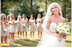 Brides + Bridesmaids: focus on Bride w/ maids in background... Do same for Groom + Groomsmen