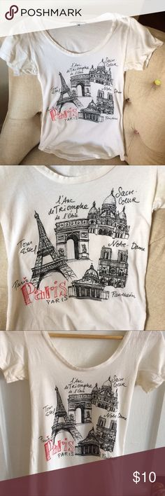 Scoop neck Paris graphic tee Tres chic Paris tshirt from Urban Outfitters! Illustrations of Paris landmarks will fuel your wanderlust 🇫🇷 Brand is Truly Madly Deeply. Scoop neck and a rounded hem, gently used. Urban Outfitters Tops Tees - Short Sleeve