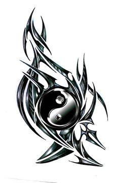 tatouage tribal yin yang - Marine And Land Vehicles Tribal Wolf Tattoo, Cool Tribal Tattoos, Tribal Sleeve Tattoos, Wolf Tattoos, Geometric Tattoos, Tatoos, Yin Yang Tattoos, Pisces Tattoos, Stammestattoo Designs