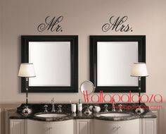 Mr ans Mrs Wall Decal - Mirror Decal - Mr and Mrs - Bathroom Wall decal - Master bedroom decal