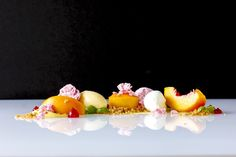 Summer Menu 2012 - Vanilla Poached Peaches with Peach Sorbet and Raspberry, Milk, Almond, Basil, Corn