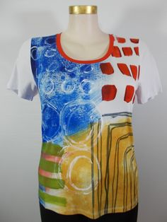Dolcezza - Red/Blue/Green/White Cap Sleeve Abstract Mix Media Tee