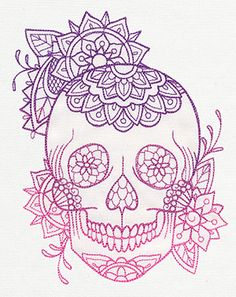 Intricate flowers decorate this light-stitching skull design, complete with beautiful ombre color!