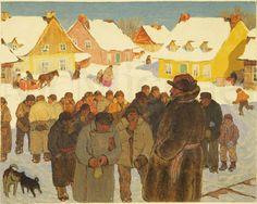 Clarence Gagnon - Napoleon Laliberte Reports Village News, 1928 - 1933 Canadian Painters, Canadian Artists, William Kurelek, Illustrations, Illustration Art, Clarence Gagnon, Quebec, Of Montreal, Collage Artwork