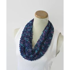Hand Knit Cowl, Blue Cowl, Knit Scarf, Scarf, Knit Circle Scarf, Loop... ($30) ❤ liked on Polyvore featuring accessories and scarves