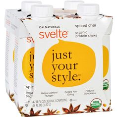 Svelte Protein Shake - Organic - Spiced Chai - 11 fl oz - Case of 24 - Svelte organic protein shakes are perfect as a delicious meal replacement, for pre and post workout, or as an anytime ready-to-drink snack. Our protein shakes are vegan, gluten-free and made from non-GMO organic soy. Each rich creamy shake contains 20% of your daily fiber intake, just 6 grams of sugar and helps to control hunger and give you energy you need to maintain your healthy lifestyle. The irresistible aroma and…