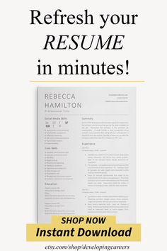 This modern social media resume template is ideal for social media, marketing, sales, administrative professionals - and more!  Welcome from Developing Careers - resume templates / CV templates + cover letters designed to help you make a superb first impression – because first impressions last! Cover Letter Design, Cover Letters, Cover Letter Template, Marketing Resume, Sales Resume, Media Marketing, Resume Words, Resume Cv, Resume Writing