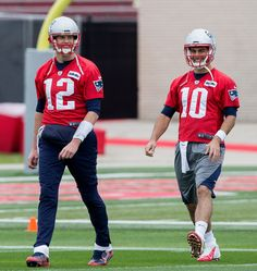 Jimmy Garoppolo Photos Photos - Tom Brady #12 of the New England Patriots and Jimmy Garoppolo #10 work out during a practice session ahead of Super Bowl LI  on February 3, 2017 in Houston, Texas. - New England Patriots Practice