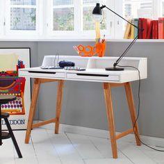 PC Tisch Cretas in Weiß Buche 110 cm breit