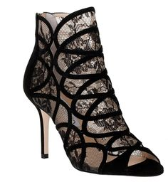 Jimmy ChooFonda suede and lace sandal bootie $1250