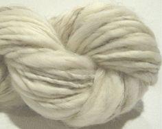 handspun yarn Winter White thick and thin bulky singles 82 yds, merino wool top