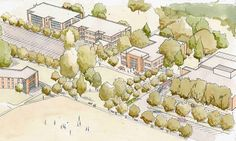 """Watercolor of the additions of Hamel, Marsh, and Meier Hall at Andrews University. They seek to improve the connection of the existing buildings to…"""