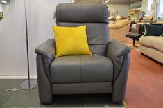 Living : Vincenza Italian Grey Leather Armchair