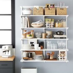Available exclusively at The Container Store, shop our bestselling Elfa Kitchen & Pantry shelving & storage solutions. Shop the site, design online, or meet with a design expert in-store today! Pantry Shelving, Kitchen Cabinet Storage, Wire Shelving, Kitchen Shelves, Storage Shelves, Kitchen Organization, Custom Shelving, Storage Cabinets