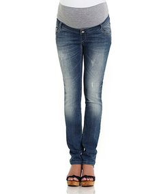 Look at this #zulilyfind! Blue Distressed Maternity Skinny Jeans - Women by Jolie Maternity #zulilyfinds