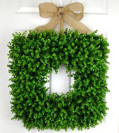 20 Inch Square Faux Farmhouse Boxwood Wreath FREE SHIPPING
