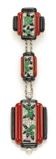 ART DECO PLATINUM, DIAMOND, ONYX, JADE, AND ENAMEL LAPEL WATCH, MVT 399283 CASE 8476, CIRCA 1924.