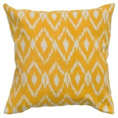 "Cotton pillow with a tribal diamond motif.    Product: PillowConstruction Material: Cotton cover and polyester fillColor: Mustard and whiteFeatures:  Insert includedHidden zipper closurePrinted details Dimensions: 18"" x 18""Cleaning and Care: Machine washable separately in cold water on gentle cycle. Lay flat to dry.  Do not bleach."