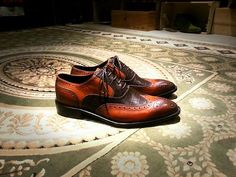 An interesting combination of browns in this wingtip. - Diamond Walker bespoke shoes