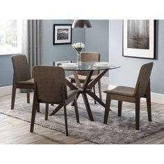 4 Seater Round Dining Table Extending Glass Walnut Finish Base Wooden Furniture