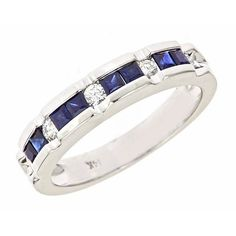Channel Set Diamond and Sapphire Wedding Anniversary Band Ring