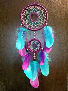 Купить Ловец снов - тёмно-фиолетовый, бирюзовый цвет, ловец снов, ловец сновидений