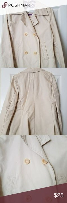 "Banana Republic Trench Coat A beautiful classic! Approx measurements: length 29,"" sleeve 24,"" bust 38."" A few small spots of the left front, (see 3rd pic), about the size of a pencil point. 100% cotton, dry clean. Banana Republic Jackets & Coats Trench Coats"