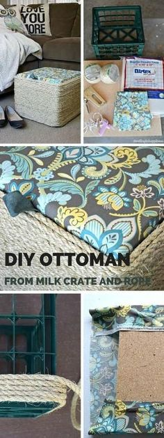 Check out this tutorial for DIY Milk Crate Ottoman. What an easy DIY ottoman! by phyllis (Diy Furniture Ottoman)