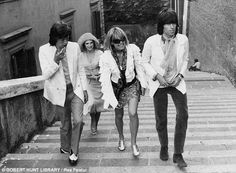 On top of the world! L-R: Mick Jagger, Marianne, Anita Pallenberg and Keith in the 60s...