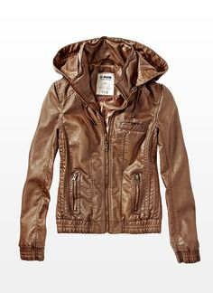 Vintage Brown Faux Leather Hooded Jacket. Look good with grey hoody underneath