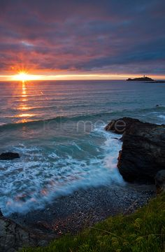 The Gap. Godrevy Lighthouse and a glimpse of late sun