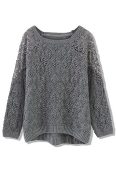 Grey Knit Sweater with Crochet Shoulder <3