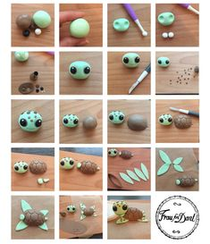 Tutorial - Nemo und seine Freunde - Féerie cake - Tutorial – Nemo and his friends – Féerie cake - {hashtag} Polymer Clay Kawaii, Polymer Clay Animals, Fimo Clay, Polymer Clay Projects, Polymer Clay Turtle, Diy And Crafts, Crafts For Kids, Cute Clay, Clay Figures